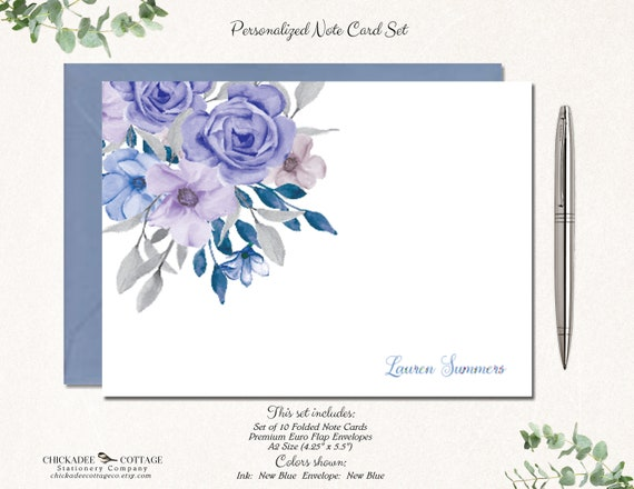 folded stationery stationary blank cards gift for her notecards pink gray white flowers floral note cards