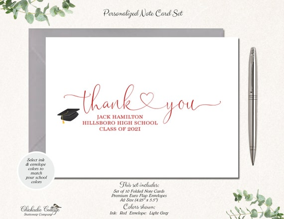 Class of 2019 Personalized Graduation Thank You Cards Set Set of 10 College GRADUATION HEART High School Graduation Cards