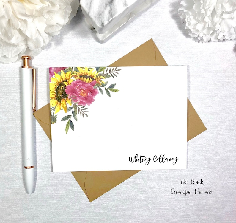 Flower Stationary Note Cards with Envelopes Gift for Mom PINK YELLOW FLORAL stationery Gift for Her Personalized Flower Note Cards