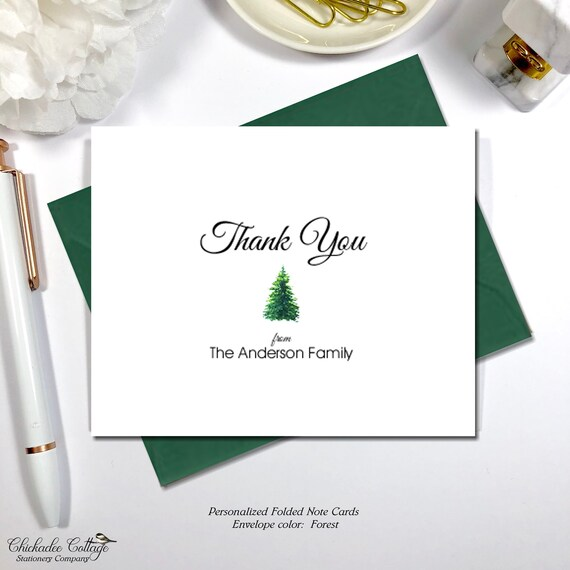 Christmas Thank You Cards Holiday Thank You Cards Family Etsy