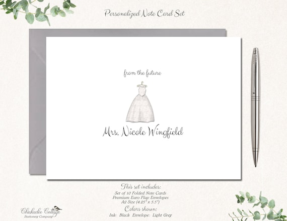 Wedding Thank You Cards Thank You from the Future Mrs Bridal Shower Thank You Cards Set of 10 Notecards Bridal Shower Thank You Notes