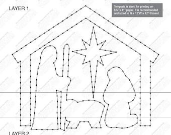 8522f9abb637 Nativity Scene - Custom String Art Template