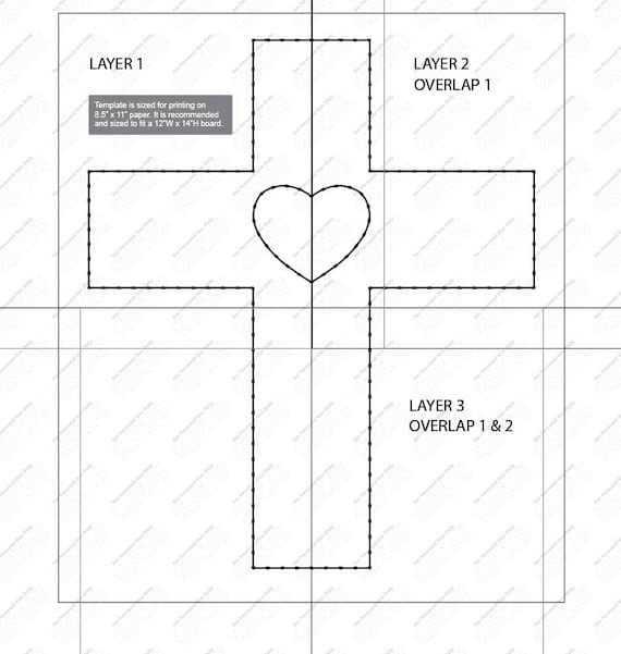 cross with heart string art template. Black Bedroom Furniture Sets. Home Design Ideas