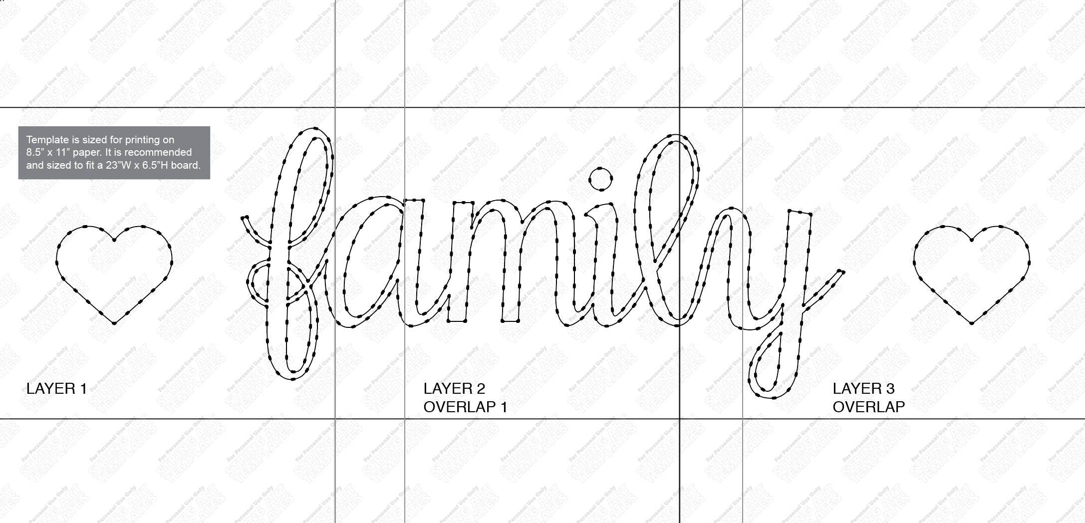 family with hearts string art template etsy