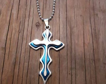 Blue line cross chain and silver