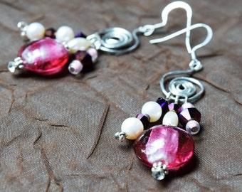 Pink, pearl dangle earrings