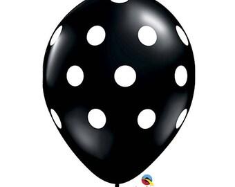 "Polka Dots Balloon 11"", Black Balloon with White Polka Dots, set of 6"
