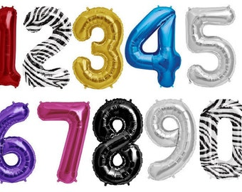 "Balloon Numbers 34"", Balloon Number Various Colors, Giant Balloon Number, Birthday Ballon Number, Zebra Balloon Number,"