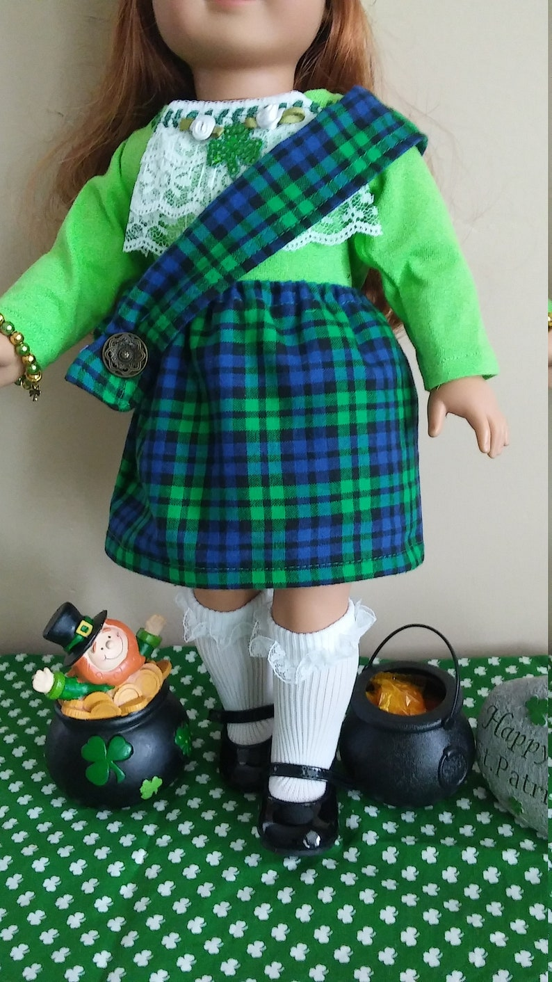 Patrick/'s Day Irish clothes outfit titled St Aina fits American Girl and most 18 in dolls Patrick/'s St