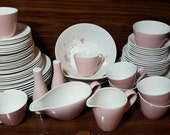 Johnson Bros Snowhite (JB443) Pink Flowers, White China, Dinnerware and Tea Service for 8 Vintage 1960 39 s
