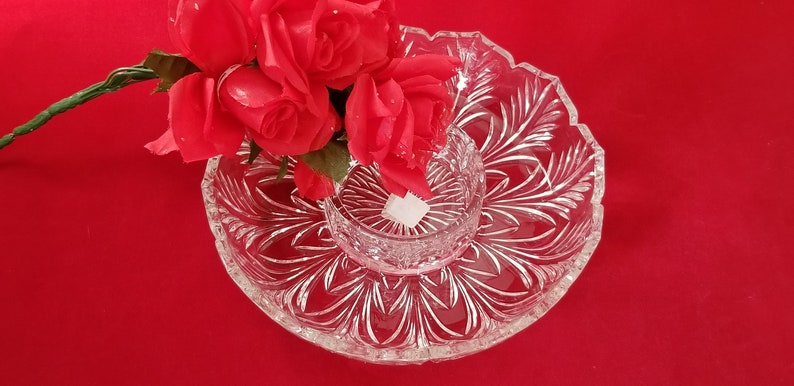 Vintage 2 Piece CrackerCondiment Set Pattern Chip and Dip Set Veg and Dip 24/% Lead Crystal Portico Pattern by CRYSTAL CLEAR INDUSTRIES