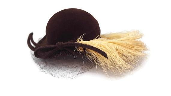 Vintage Brown Velvet Feather Flapper Hat, Brown Fl