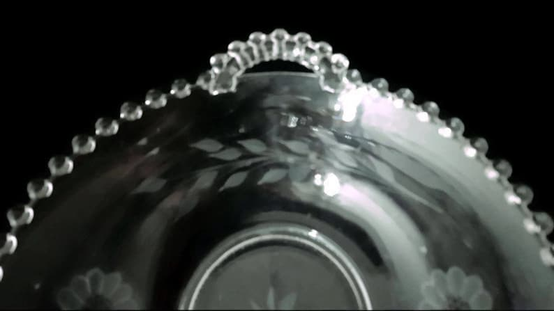c.1930/'s-70/'s Hughes Cornflower Crystal Bowl 2-Handled Imperial Glass Co. 8 Hughes Cornflower Candlewick Serving Bowl
