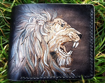 db6b323162d3 Lion leather wallet | Etsy