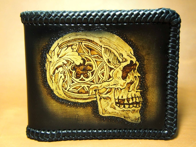 443a9c52160 Portefeuille en cuir avec tête de mort portefeuille homme