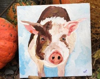 Pig painting, Original pig art, Rustic Folk art, Farmhouse decor, Farm animal wall art, Animal portrait, Impressionist pig, Farm wall art