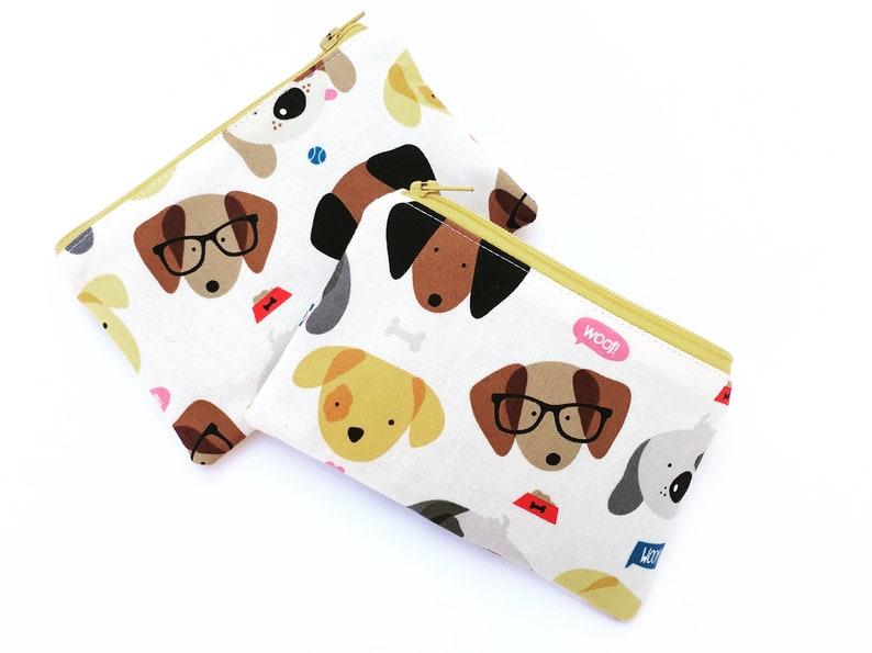 Dog Zipper Wallet Money Pouch Little Zipper Pouch vegan card wallet Card Holder Headphone holder Dog Coin Purse Womans Wallet dogs