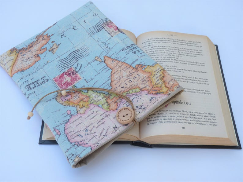 World Map Book Sleeve with closure Fabric Book Sleeve Book image 0