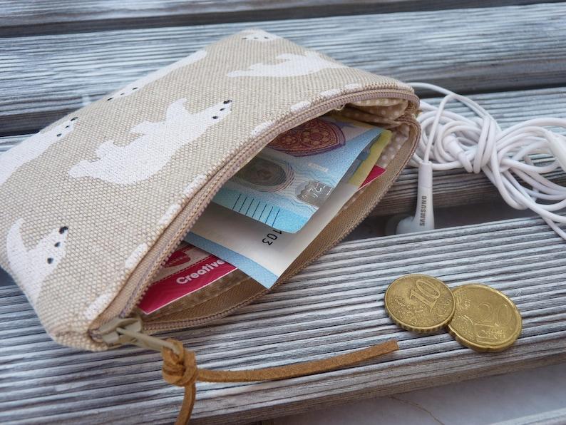 Bear Zipper Wallet Card Holder Polar Bears Coin Purse Cash Holder Linen pouch Womans Wallet Zippered Pouch Headphone holder