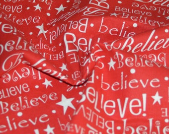 "Red & White ""Believe"" Cotton Fabric 42"" Wide"