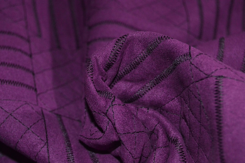 Purple Quilted Faux Suede fabric 58 Wide
