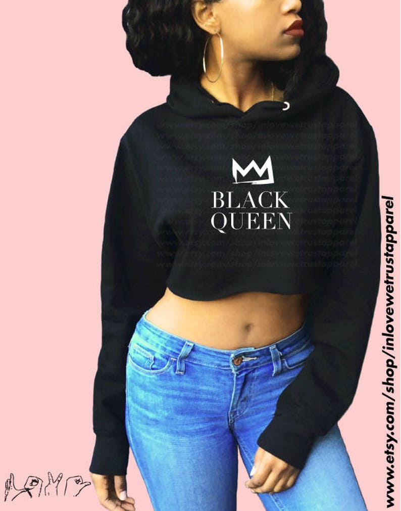 9213a58592f4ae BLACK QUEEN Crop Hoodie