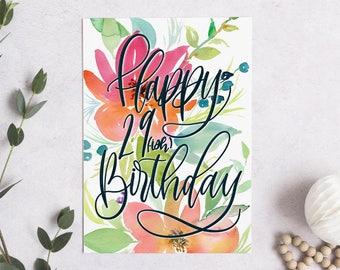 "Birthday Card - Watercolor 29ish | 5x7"" A7 Greeting Card | Blank Inside"