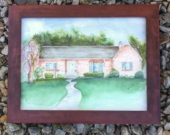 Custom Detailed Home Original Watercolor Portrait + FREE SHIPPING