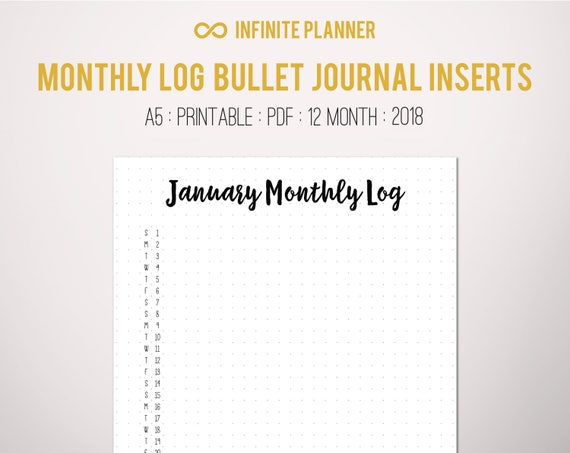 monthly log a5 2018 bullet journal printable pdf etsy