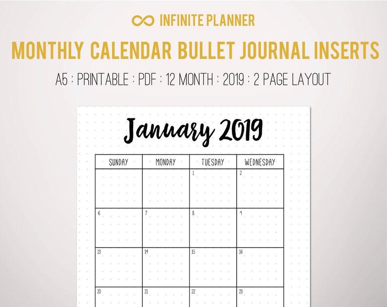 graphic relating to Bullet Journal Symbols Printable known as Regular Calendar (2019) - Bullet Magazine Printable