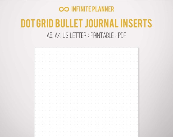 bullet journal dotted  A5 Dot Grid Page Bullet Journal Printable | Etsy