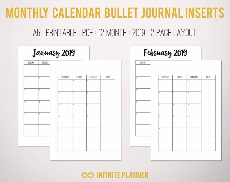 graphic relating to Bullet Journal Monthly Calendar Printable referred to as Month-to-month Calendar (2019) - Bullet Magazine Printable
