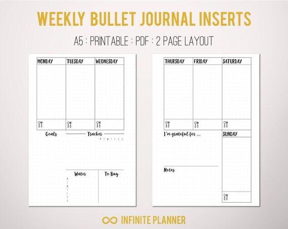 bullet journal a5  A5 Weekly Layout on 2 Pages Bullet Journal Printable | Etsy