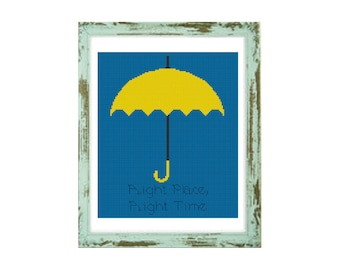 INSPIRED by How I Met Your Mother cross stitch pattern-TV show-himym-marshall-lily-Umbrella-horn-ted-robin-pdf Instant Download-easy-PT-241