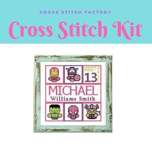 Baby Avengers Cross Stitch Kit Pattern Avengers Birth announcement Cross Stitch Pattern custom cross stitch  Avengers cross stitch Kit