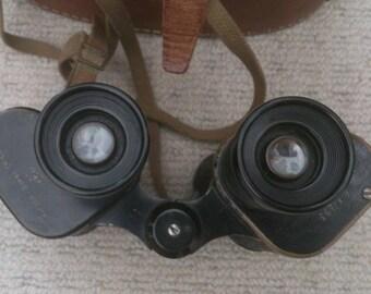 Vintage Binoculars, with leather  case, Watson Baker Co Ltd, England