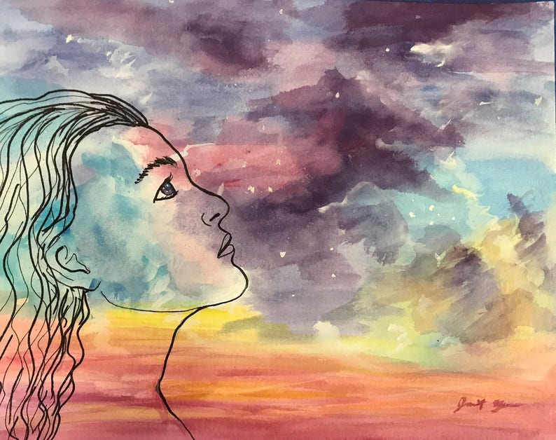 Image result for women watching sky painting