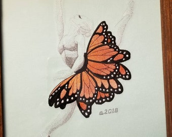 Embroidered ballerina with monarch butterfly
