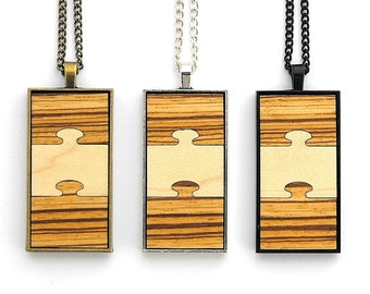 Curly Maple /& Mahogany wood choose your finish Jigsaw Pendant Necklaces