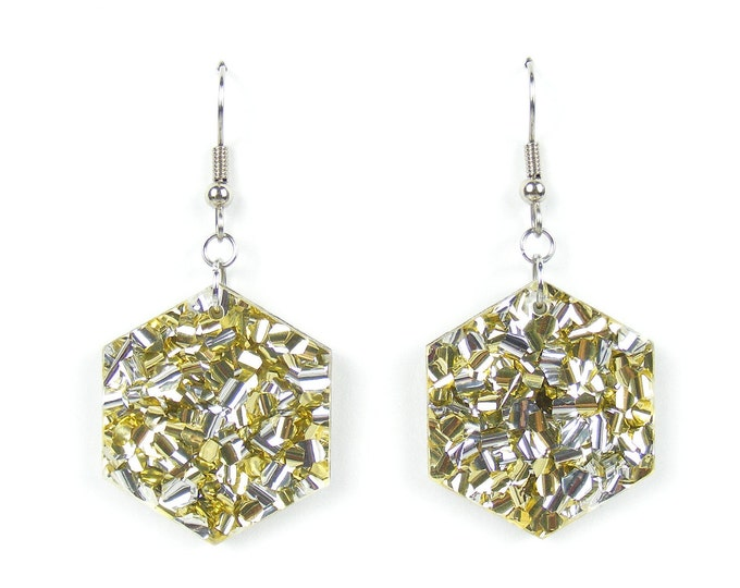 Shimmer /'Hex/' Acrylic Hook Earring \u2013 Gold /& Silver Sparkle