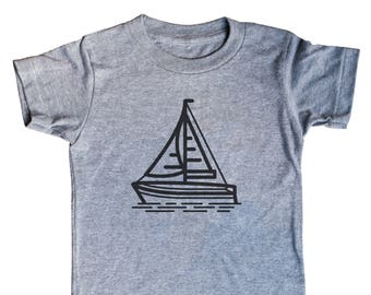 Sailboat Kids Shirt | Minimal Tee | Son | Child | Tees | For Gift | Birthday | Nautical | Unisex | Triblend