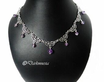 Necklace, gemstone, amethyst, purple, gothic, elven, medieval, viking, pagan