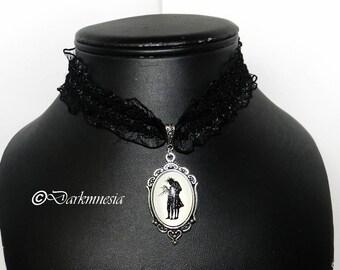 Necklace, lace, black, Edward Scissorhands, Tim Burton, crew neck, gothic, goth