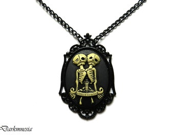 Necklace, skeleton, cameo, pendant, black, siamese, twins, steampunk, goth, victorian, gothic