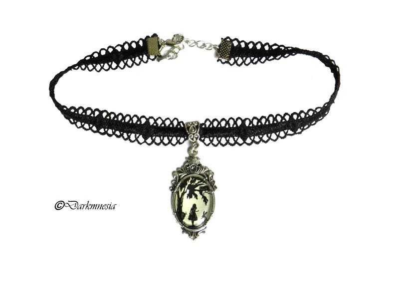Necklace crew neck gothic lace goth black alice in wonderland disney