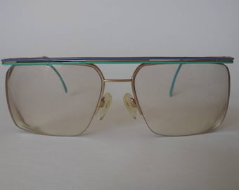 764a5ed9792 Vintage Neostyle Big 70 s 80 s Rimless Eyeglasses Frames Turquoise Purple  Gold Germany