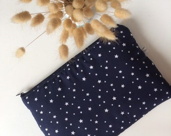 gilded bronzed and navy tissue cover tablet cuts M quilted Japanese fabric IPad cover marine