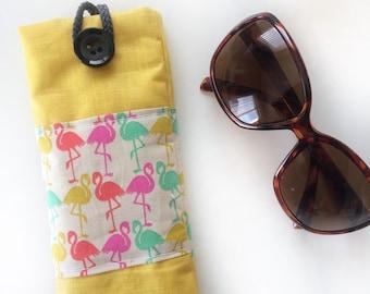 Flamingo glasses case pink yellow waterproof laminated cotton linen.