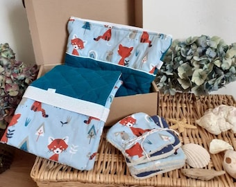 Kitau birth double padded gauze peacock blue and foxes