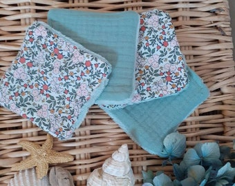 washable wipes eucalyptus green and flowers